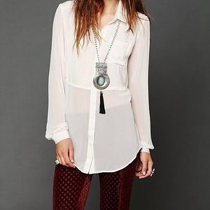 FREE PEOPLE SHEER BUTTON DOWN TUNIC